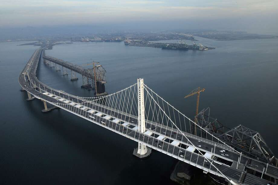 Aerial view of the Oakland/San Francisco Bay Bridge with the old cantilever section visible at the top in Oakland, Calif., on Wednesday, January 14, 2015. Photo: Carlos Avila Gonzalez, The Chronicle