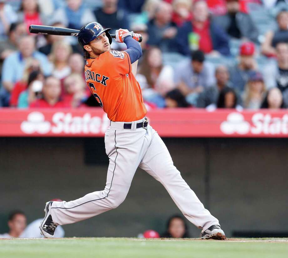 Jake Marisnick batted leadoff for the Astros for the first time this season Saturday, but the outfielder hit in the top spot for much of his minor league career. Photo: Karen Warren, Staff / © 2015 Houston Chronicle