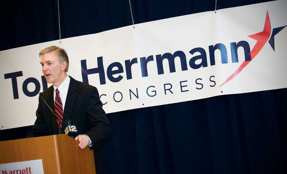 Easton First Selectman Tom Herrmann announces his candidacy for Congress in a press conference at the Stamford Marriott Hotel in Stamford, Conn. on Wednesday, March 10, 2010. Herrmann will run as a Republican against Jim Himes, and will start the race with reportedly more money than any other Republican candidate reported raising during the last reporting period. Photo: Kathleen O'Rourke / Stamford Advocate