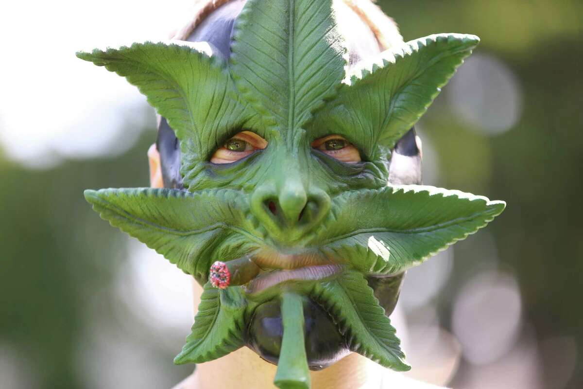 A man wears a mask during the annual Cannabis Freedom March from Capitol Hill's Volunteer park to Westlake in downtown Seattle. About 100 people marched to voice their displeasure with what appears to be the end of medical marijuana and a shift to a state-controlled system based on recreational marijuana. Photographed on Saturday, May 9, 2015.