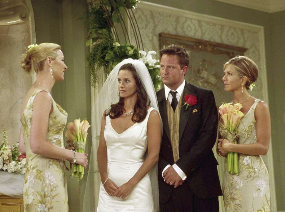 Monica and Chandler got married in 2001, but what's up with the Courteney and Matthew? While we ponder their relationship status, keep clicking to take a then and now look at the cast of the show. Photo: NBC, Getty Images / © NBC Universal, Inc.