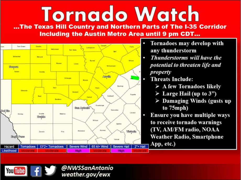 Tornado watch until 9 p.m., Sunday, May 10. Photo: Courtesy National Weather Service Austin-San Antonio