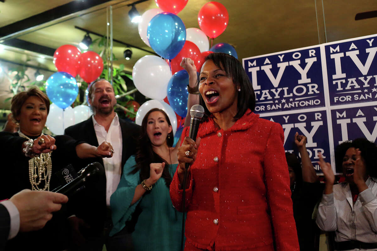 """""""We are in the runoff!"""" shouts Mayor Ivy Taylor as addresses her supporters at SoLuna in San Antonio on election night, Saturday, May 9, 2015."""
