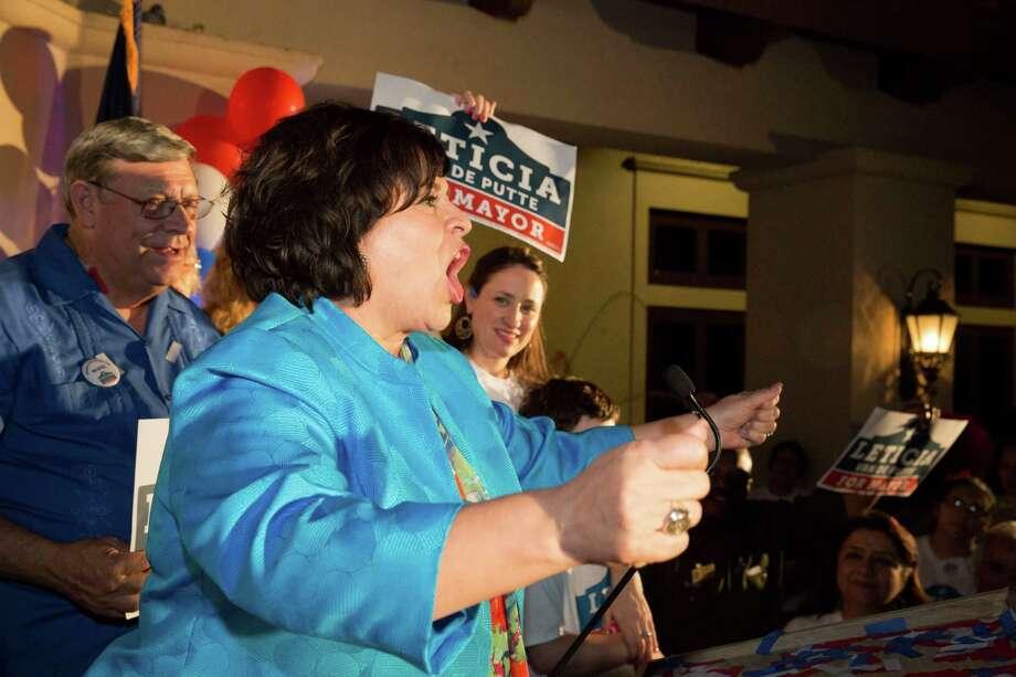 Leticia Van de Putte addresses the crowd at her campaign headquarters in San Antonio, Texas on Saturday, May 9, 2015. Photo: Carolyn Van Houten, San Antonio Express-News / 2015 San Antonio Express-News