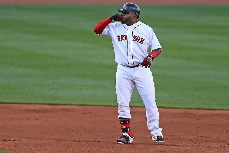 Pablo Sandoval of the Boston Red Sox celebrates after hitting a double during the second inning against the Toronto Blue Jays at Fenway Park on April 28, 2015 in Boston, Massachusetts. Photo: Maddie Meyer, Getty Images