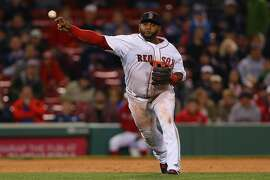 BOSTON, MA - APRIL 28:  Pablo Sandoval #48 of the Boston Red Sox throws towards first during the ninth inning against the Toronto Blue Jays at Fenway Park on April 28, 2015 in Boston, Massachusetts.  (Photo by Maddie Meyer/Getty Images)