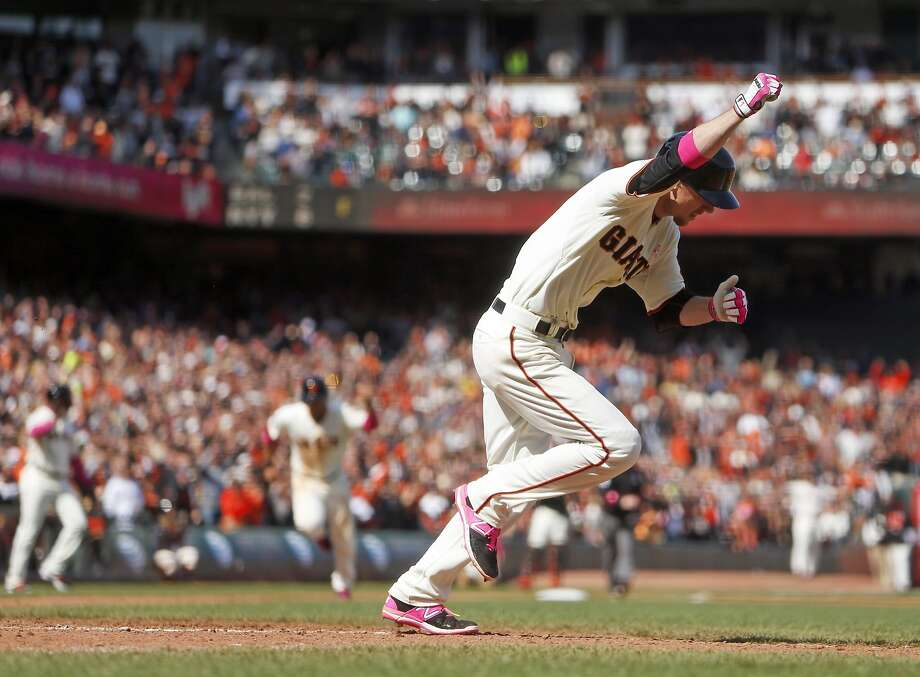 San Francisco Giants' Matt Duffy celebrates his game-winning single in 9th inning of 3-2 win over Miami Marlins during MLB game at AT&T Park in San Francisco, Calif., on Sunday, May 10, 2015. Photo: Scott Strazzante, The Chronicle