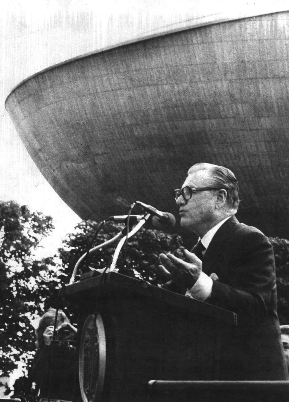 NELSON A. ROCKEFELLER--Fromer Vice President and New York Governor Nelson A. Rockefeller speaks after the billion dollar plus Empire State Plaza was renamed in his honor.10/6/1978. -2- McBride.