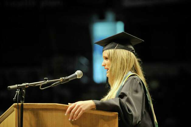 Graduating class president, Sarah Czelusniak, addresses her fellow graduates during Siena College commencement at the Times Union Center on Sunday, May 10, 2015, in Albany, N.Y.  (Paul Buckowski / Times Union) Photo: PAUL BUCKOWSKI / 00031513A