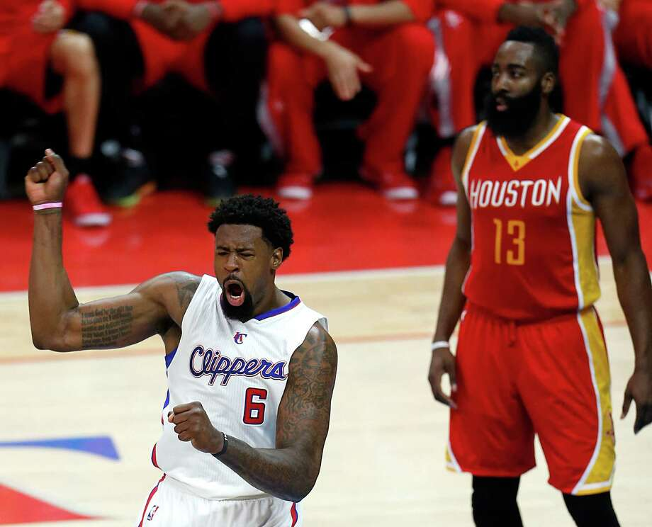 It was an eventful night for Clippers center DeAndre Jordan, who enjoys a basket in the second half after a first half filled with shooting free throws. On the night, Jordan had 26 points while going 14-of-34 from the line. Photo: Karen Warren, Staff / © 2015 Houston Chronicle
