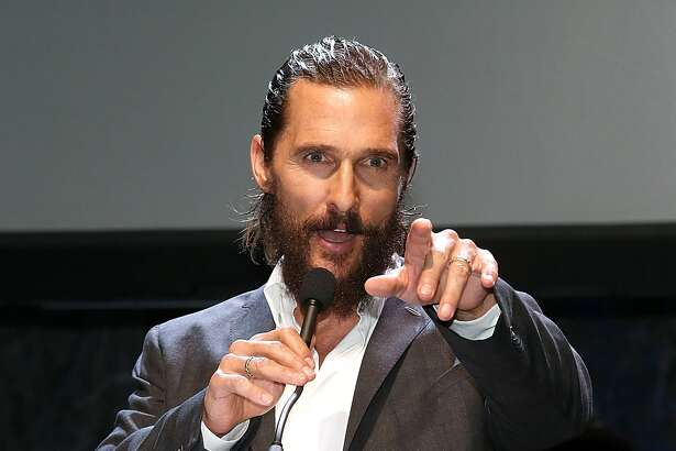 Matthew McConaughey speaks during the Mack, Jack & McConaughey charity gala at ACL Live on April 16, 2015 in Austin, Texas.