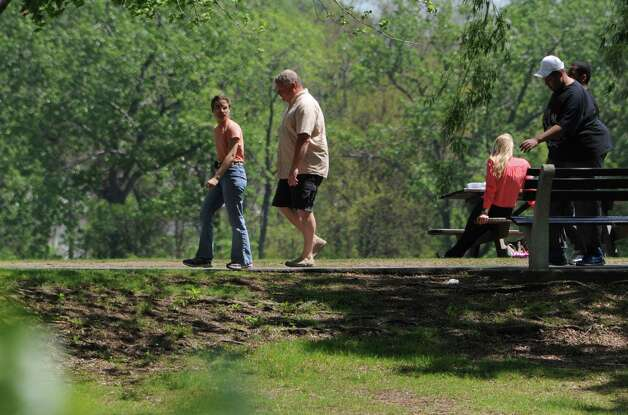 People enjoy the nice weather while walking on the Corning Preserve bike path on Monday, May 11, 2015 in Albany, N.Y. (Lori Van Buren / Times Union) Photo: Lori Van Buren