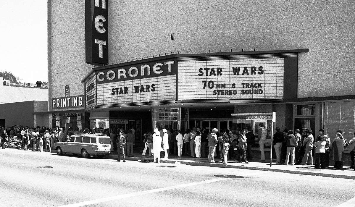 """May 28, 1978: The Coronet Theatre in San Francisco, on the Saturday afternoon after """"Star Wars"""" opened in the city. The movie played exclusively in San Francisco at the Coronet, and lines snaked around the block for weeks. Longtime Chronicle photographer Gary Fong took this photo in the middle of the day for a Chronicle story on the movie's surprise popularity and impact on the neighborhood. On a busy day, Fong had to take the photo close to noon - he later said """"the light was terrible"""" - but he still captured a moment in history."""