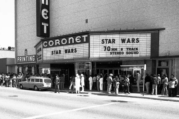 "May 28, 1978: The Coronet Theatre in San Francisco, on the Saturday afternoon after ""Star Wars"" opened in the city. The movie played exclusively in San Francisco at the Coronet, and lines snaked around the block for weeks. Longtime Chronicle photographer Gary Fong took this photo in the middle of the day for a Chronicle story on the movie's surprise popularity and impact on the neighborhood. On a busy day, Fong had to take the photo close to noon - he later said ""the light was terrible"" - but he still captured a moment in history."