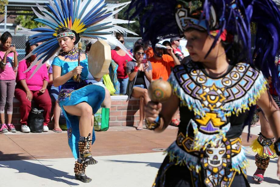 Mónica Villarreal and the group Aztec Taxcayolotl dance at one of the East End's frequent weekend festivals. Photo: Mayra Beltrán, Houston Chronicle