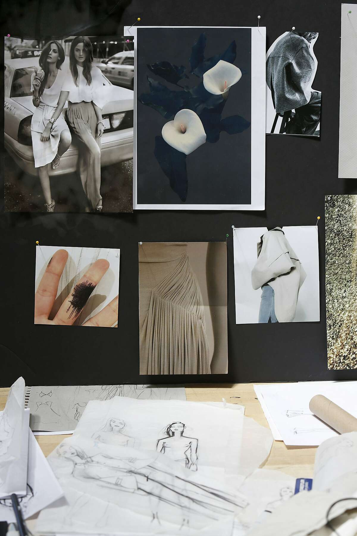 A view of the inspiration board of junior design student Sophia Lemos at the California College of the Arts sustainable fashion class in San Francisco, California, on Friday, May 8, 2015.