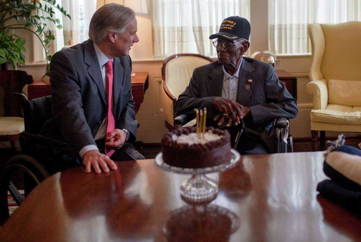 Governor Greg Abbott (left) welcomes Richard Overton (center) and Erline Love in the Conservatory Room of the Governor's Mansion Monday, May 11th, 2015. Governor Greg Abbott and First Lady Cecilia Abbott celebrated Richard Overton's 109th birthday at the Texas Governor's Mansion on Monday, May 11th, 2015.Overton is the oldest living combat veteran from WWII.