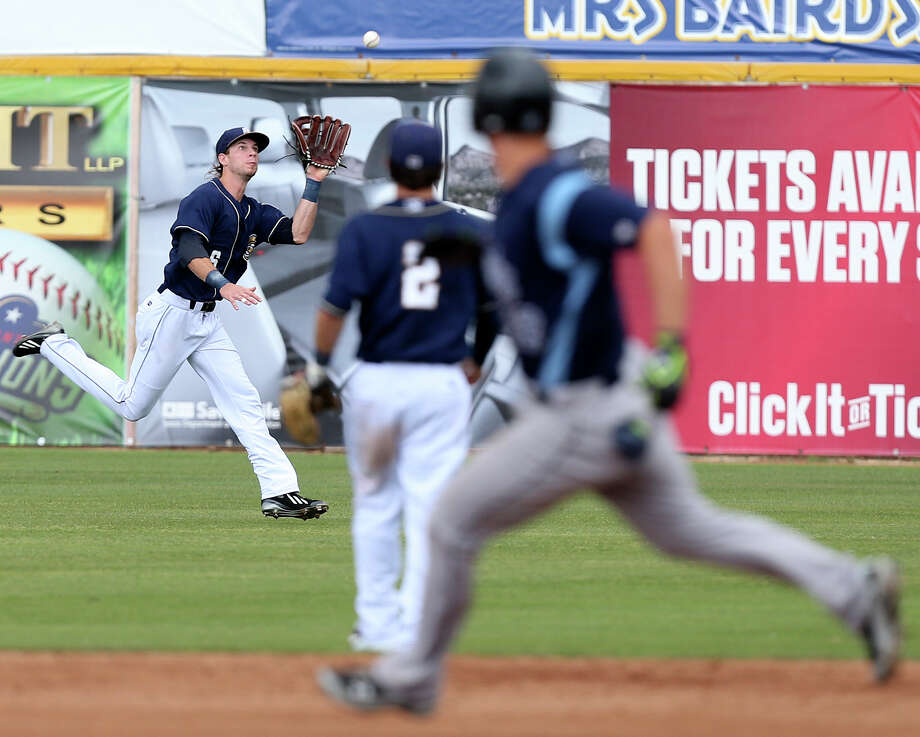 Missions center fielder Travis Jankowski makes a catch at the top of the fifth inning. He also provided the offense with his homer in the bottom of the inning. Photo: Jerry Lara /San Antonio Express-News / © 2015 San Antonio Express-News