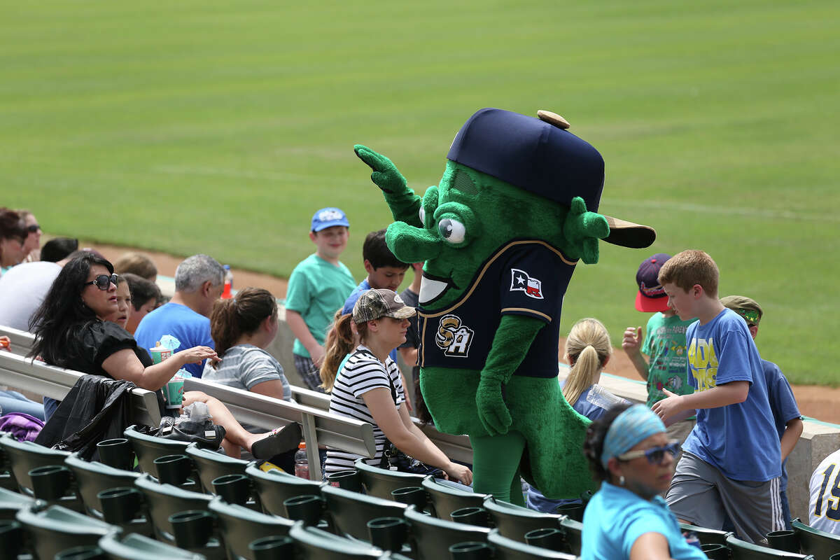 The Ballapeno makes the rounds during the San Antonio Missions and Corpus Christi Hooks game at Wolff Stadium on May 11, 2015. The Hooks won, 2-1.