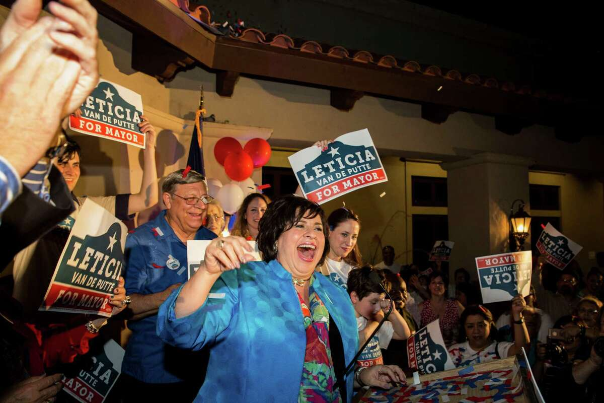 Leticia Van de Putte addresses the crowd at her campaign headquarters in San Antonio, Texas on Saturday, May 9, 2015.
