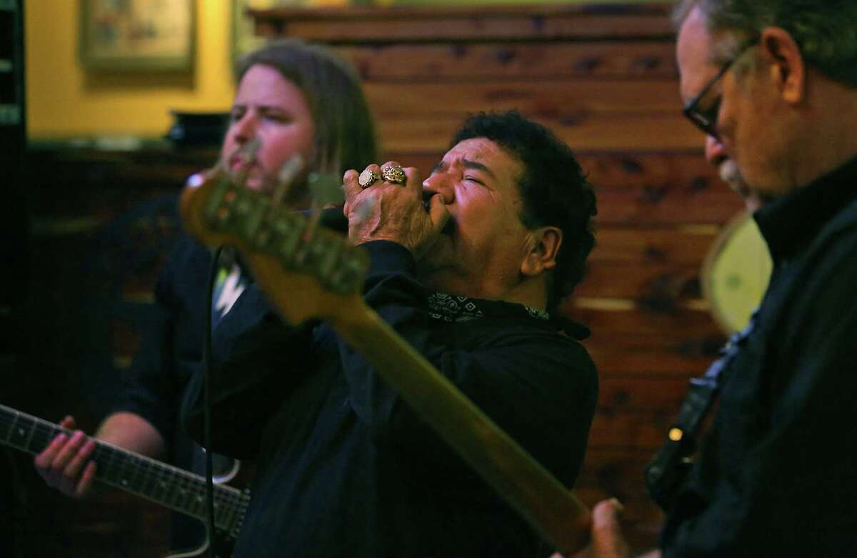 Little Roger Gonzalez sings with The Will Owen Gage Trio at Barriba Cantina on the Riverwalk. Gonzalez was the vocalist for S.A.'s Rhythm Kings back in the day. Thursday, Jan. 22, 2015.