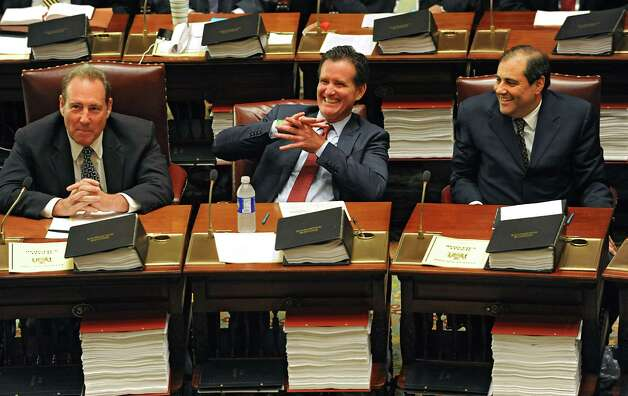 Senators Joseph Robach, left, John Flanagan, center, and Andrew Lanza are seen before a vote on a new Senate Majority Leader in the Senate Chamber at the Capitol on Monday, May 11, 2015 in Albany, N.Y.  (Lori Van Buren / Times Union) Photo: Lori Van Buren
