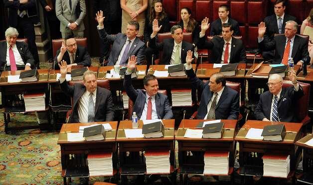 Senators vote on a new Senate Majority Leader in the Senate Chamber at the Capitol on Monday, May 11, 2015 in Albany, N.Y. Senator John Flanagan, front row, second from left, was voted as the new Senate Majority Leader. (Lori Van Buren / Times Union) Photo: Lori Van Buren