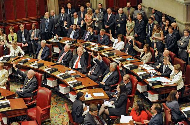 Senators vote on a new Senate Majority Leader in the Senate Chamber at the Capitol on Monday, May 11, 2015 in Albany, N.Y. Senator John Flanagan was voted as the new Senate Majority Leader. (Lori Van Buren / Times Union) Photo: Lori Van Buren