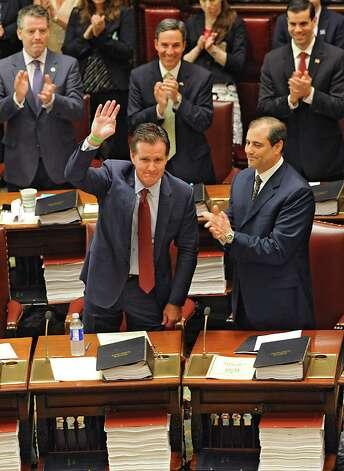 Senators vote in John Flanagan, front row left, as the new Senate Majority Leader in the Senate Chamber at the Capitol on Monday, May 11, 2015 in Albany, N.Y. (Lori Van Buren / Times Union) Photo: Lori Van Buren