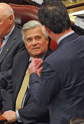 Senator John Flanagan, right, thanks Senator Dean Skelos for all he's done as Senate Majority Leader after Flanagan received the oath of office to be the new Senate Majority Leader in the Senate Chamber at the Capitol on Monday, May 11, 2015 in Albany, N.Y.  (Lori Van Buren / Times Union) Photo: Lori Van Buren