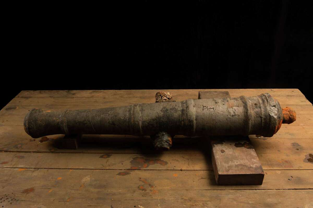 One of Capt. Henry Morgan's guns, found near the Lajas reef near Fort San Lorenzo, Colon. The cannons are in conservation at the Patronato Panama Viejo laboratory in Panama City, Panama. (Credit: Kingston Images - Captain Morgan Rum)
