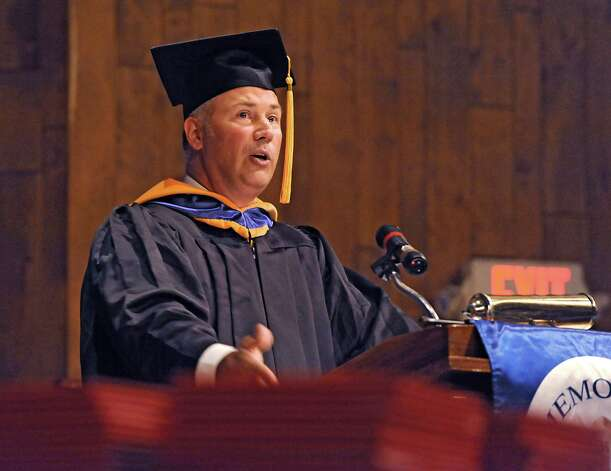Faculty member Kevin Pommenville gives the address to the graduates during the Albany Memorial School of Nursing commencement in the Maureen Stapleton Theater at Hudson Valley Community College on Monday, May 11, 2015 in Troy, N.Y. The program is part of Albany Memorial Hospital and St. Peter's Health Partners. (Lori Van Buren / Times Union) Photo: Lori Van Buren / 00031500A