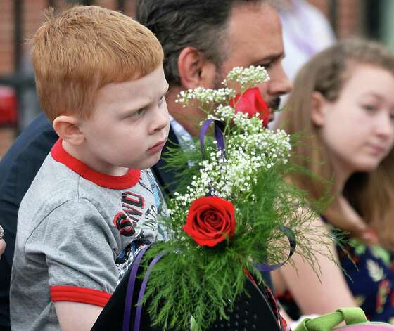 Four-year-old Thomas Georgeadis of Saratoga Springs, whose grandfather Thomas Hudson died in the line of duty, is shown during a State Police memorial service for fallen members of Troop G Tuesday May 12, 2015 in Colonie, NY.  (John Carl D'Annibale / Times Union) Photo: John Carl D'Annibale / 00031803A
