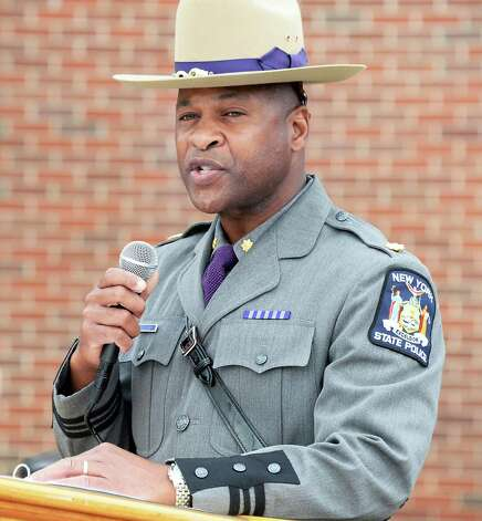 Major Steven James speaks during a State Police memorial service for fallen members of Troop G Tuesday May 12, 2015 in Colonie, NY.  (John Carl D'Annibale / Times Union) Photo: John Carl D'Annibale / 00031803A