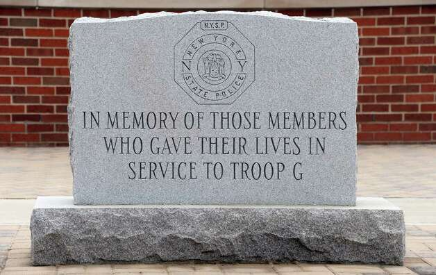 Memorial for fallen members of State Police Troop G Tuesday May 12, 2015 in Colonie, NY.  (John Carl D'Annibale / Times Union) Photo: John Carl D'Annibale / 00031803A