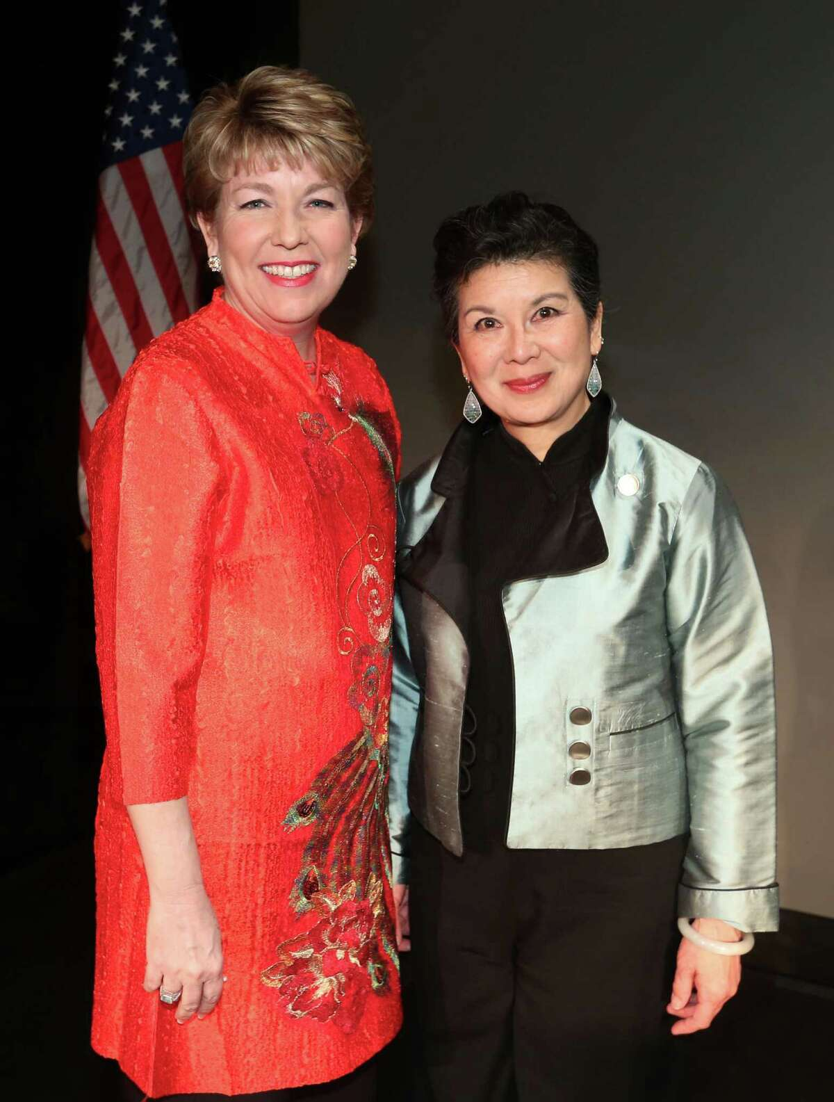 Executive Director Kelly Zuniga and Manli Ho, daughter of one of the honorees, at the Holocaust Museum LBJ Moral Courage Award Dinner at the Hilton Americas Hotel.