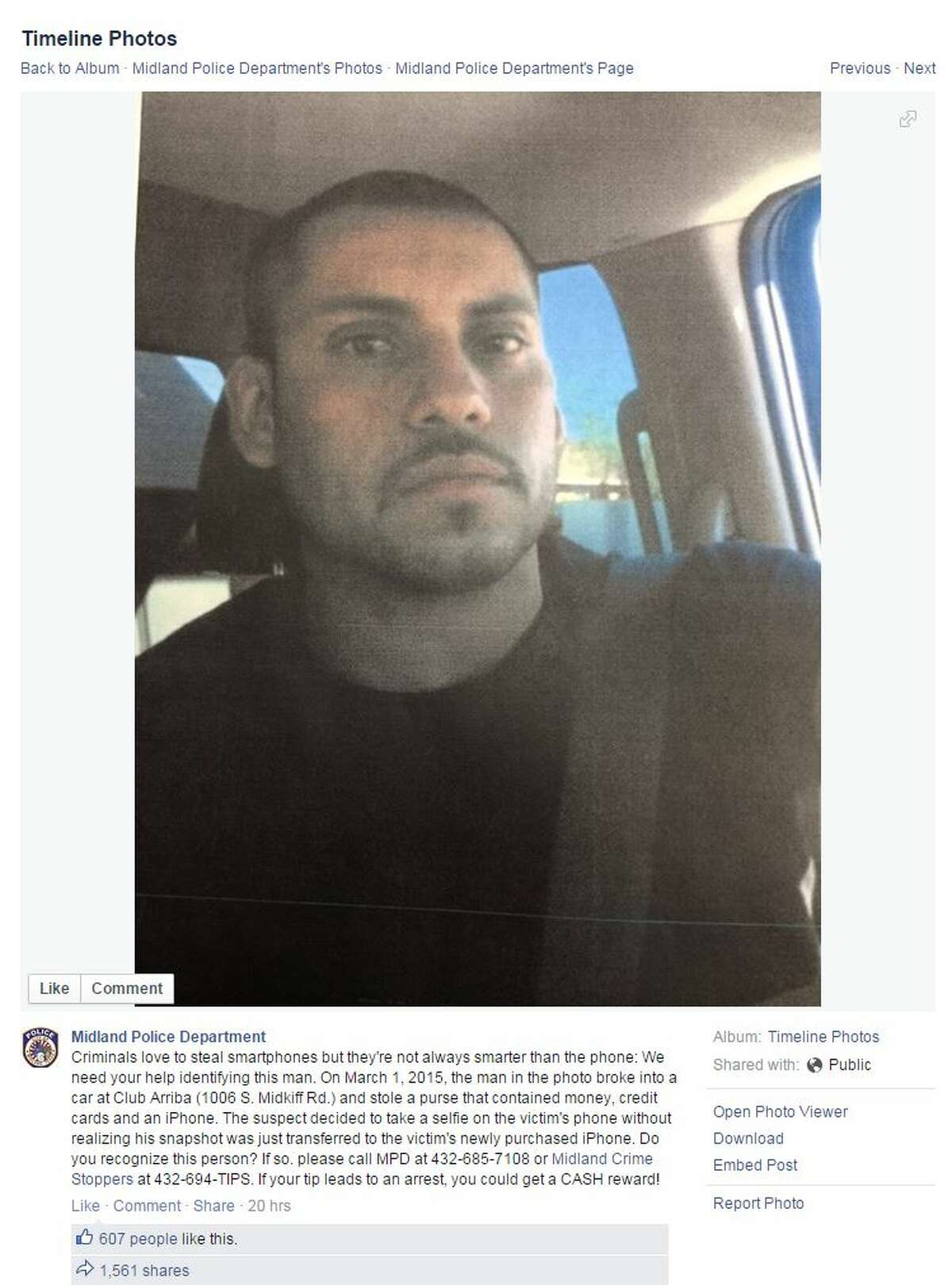 This man allegedly took this selfie with a stolen iPhone, and the photo was transmitted to the original owner's new phone.