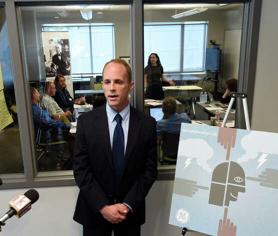 Jim Church, director of Strategic Initiatives at Questar III BOCES unveils the new GE Collaboration Lab Tuesday morning May 12, 2015 at the Tech Valley High in Albany, N.Y.        (Skip Dickstein/Times Union) Photo: SKIP DICKSTEIN / 00031799A
