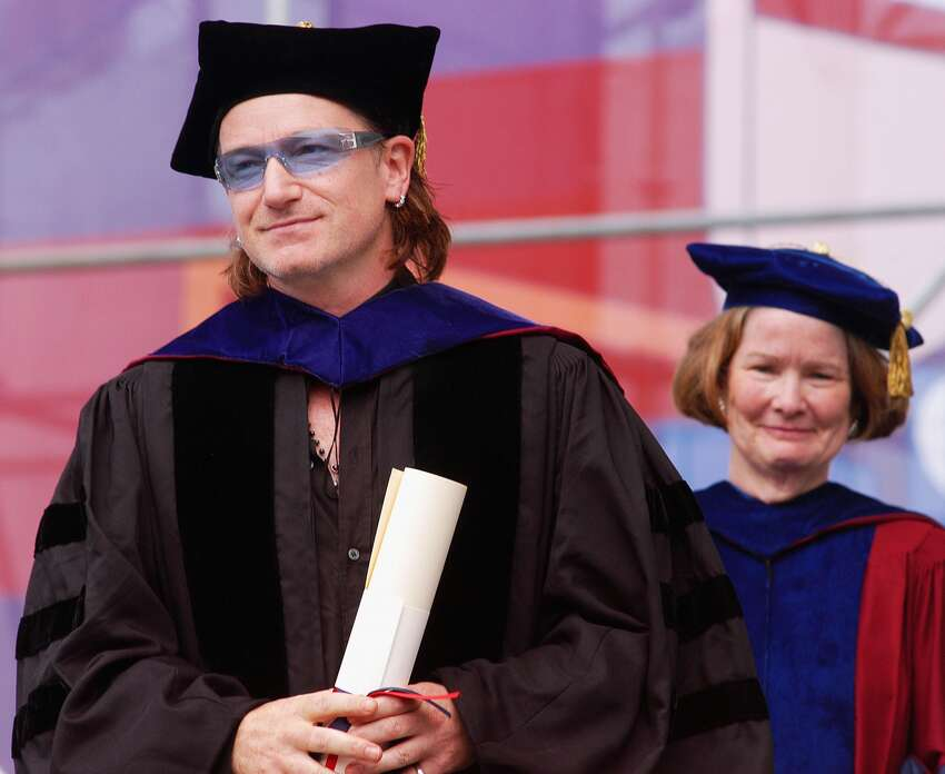 Bono, lead singer and songwriter for the rock group U2 and a social-justice activist, receives an honorary Doctor of Laws degree at the 248th Commencement of the University of Pennsylvania, on May 17, 2004 in Philadelphia, Pennsylvania. Bono co-founded the organization Debt AIDS Trade Africa in 2002 together with activists from the Jubilee 2000 Drop the Debt campaign. DATA's main objective is to raise public awareness and action in the United States and other wealthy nations against AIDS and poverty in Africa.