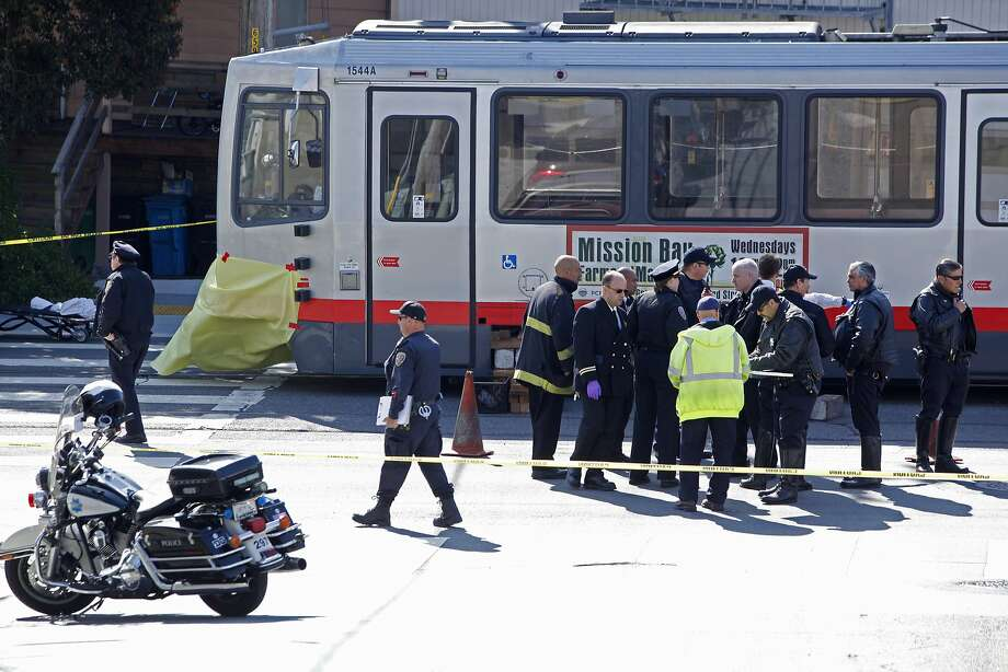 The scene where a young boy, rushing to get to school, was hit and killed by a Muni train at the corner of San Jose Avenue and Lakeview, Tuesday, May 12, 2015, in San Francisco, Calif. Photo: Santiago Mejia, The Chronicle