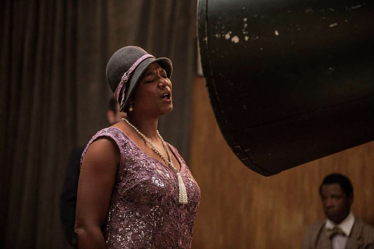 Bessie Smith (Queen Latifah) sings into a recording cone -- one of the many props supplied by San Antonio's Emily Ferry -- in HBO movie, 'Bessie.' May, 2015