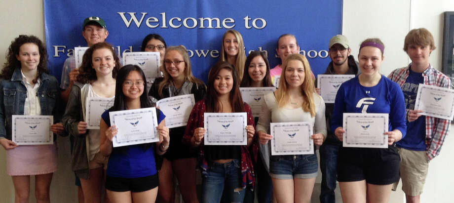 The latest group of Fairfield Ludlowe High School students to recieve Falcon of the Month awards includes: back row, from left, Sinead Klik, Zachary Day, Genesis Marin, Miranda Rosenfeld, Madeline McGowan and Jonathan Sullivan; middle row, Lily Williams, Joanne Kenton, Anna Ocheretyansky and Chris Lukas; front row,   Joelle Cheng, Megan Talmadge, Jordan Feeney and Monica Sucic. Missing from photo are Patrick OíReilly and Leslie Crawford  Mitchell. Photo: Contributed Photo / Fairfield Citizen