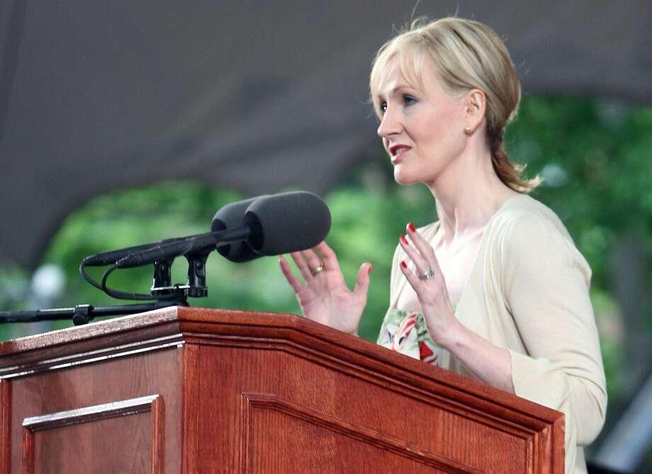 Author J.K. Rowling delivers an address at Harvard University's commencement ceremonies June 5, 2008 in Cambridge, Massachusetts.