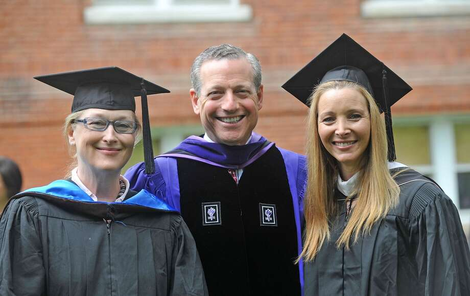 Lisa Kudrow, pictured with Meryl Streep and Chair Board of Trustees William A. Plapinger, delivered the Vassar College commencement on May 23, 2010 in Poughkeepsie, New York.