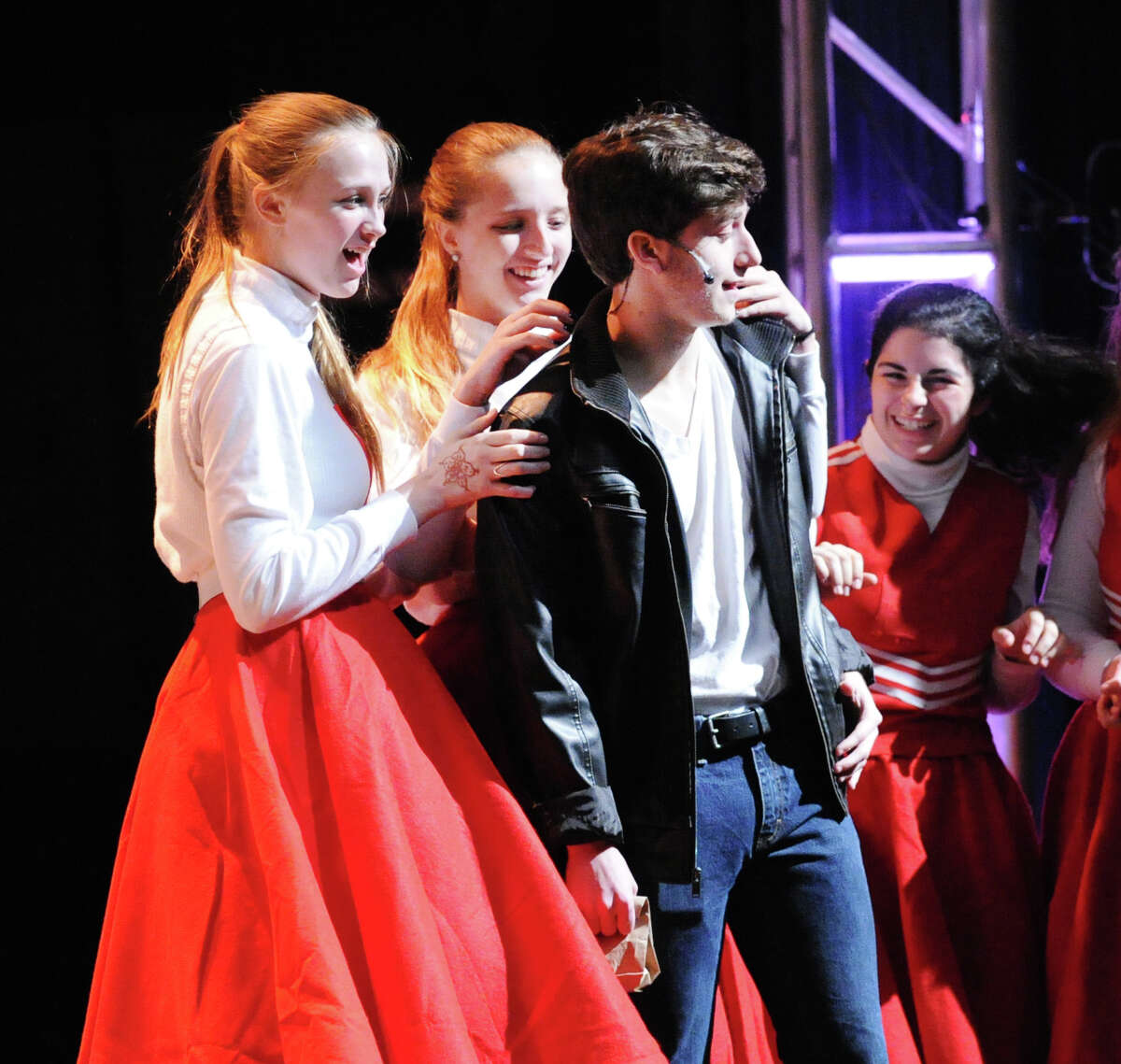 Oliver Prose, 17, a senior, as Danny during the Greenwich High School Theater Arts dress rehearsal for the spring musical