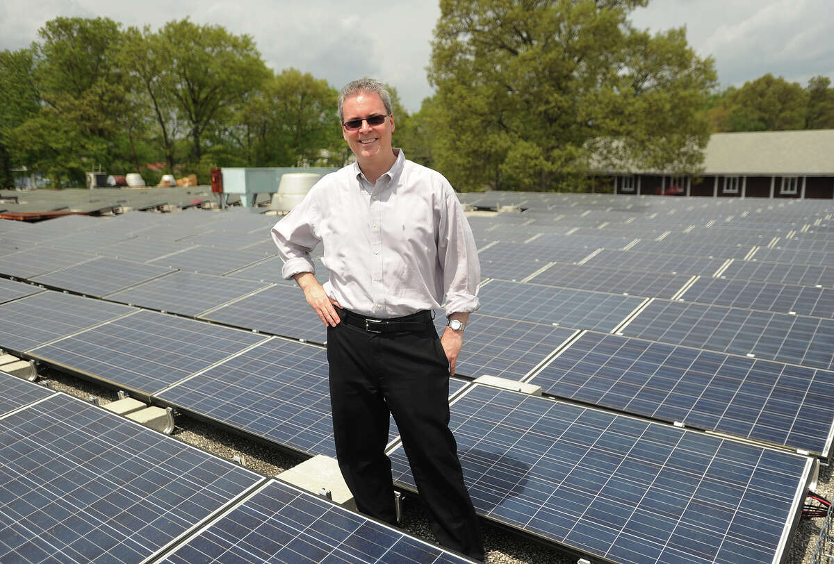 L.J. Blaiotta, owner of MDL Realty, LLC, is installing 2500 solar panels on the roof of his industrial building at 380 Horace Street in Bridgeport, Conn. on Tuesday, May 12, 2015. The panels wil supply 100 percent of the building's electrical needs.