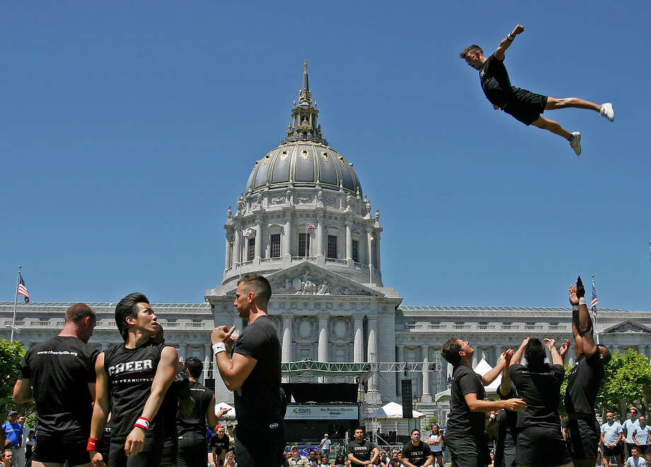 Supervisor Scott Wiener has introduced a resolution to declare Cheer SF the city's official cheer squad. The troupe is celebrating its 35th anniversary. Photo: Michael Macor / SFC / The Chronicle