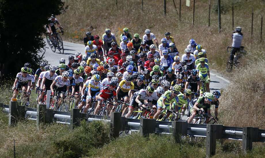 Cyclists ride up Calaveras Road during the Stage 3 of the Amgen Tour of California near Milpitas, Calif., Tuesday, May 12, 2015. (Patrick Tehan/San Jose Mercury News via AP)  MAGS OUT; NO SALES; MANDATORY CREDIT Photo: Patrick Tehan, Associated Press