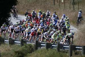 Cyclists ride up Calaveras Road during the Stage 3 of the Amgen Tour of California near Milpitas, Calif., Tuesday, May 12, 2015. (Patrick Tehan/San Jose Mercury News via AP)  MAGS OUT; NO SALES; MANDATORY CREDIT