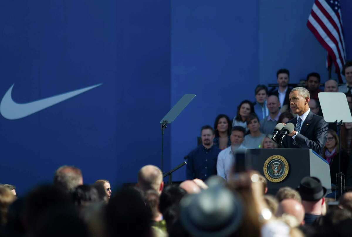 BEAVERTOWN, OR - MAY 8: President Barack Obama speaks to Nike Employees and other Oregonians at Nike Headquarters May 8, 2015 in Beaverton, Oregon. Obama spoke about the Trans-Pacific Partnership trade pacts which include the U.S. in a trade agreement with 11 other nations. (Photo by Natalie Behring/Getty Images)